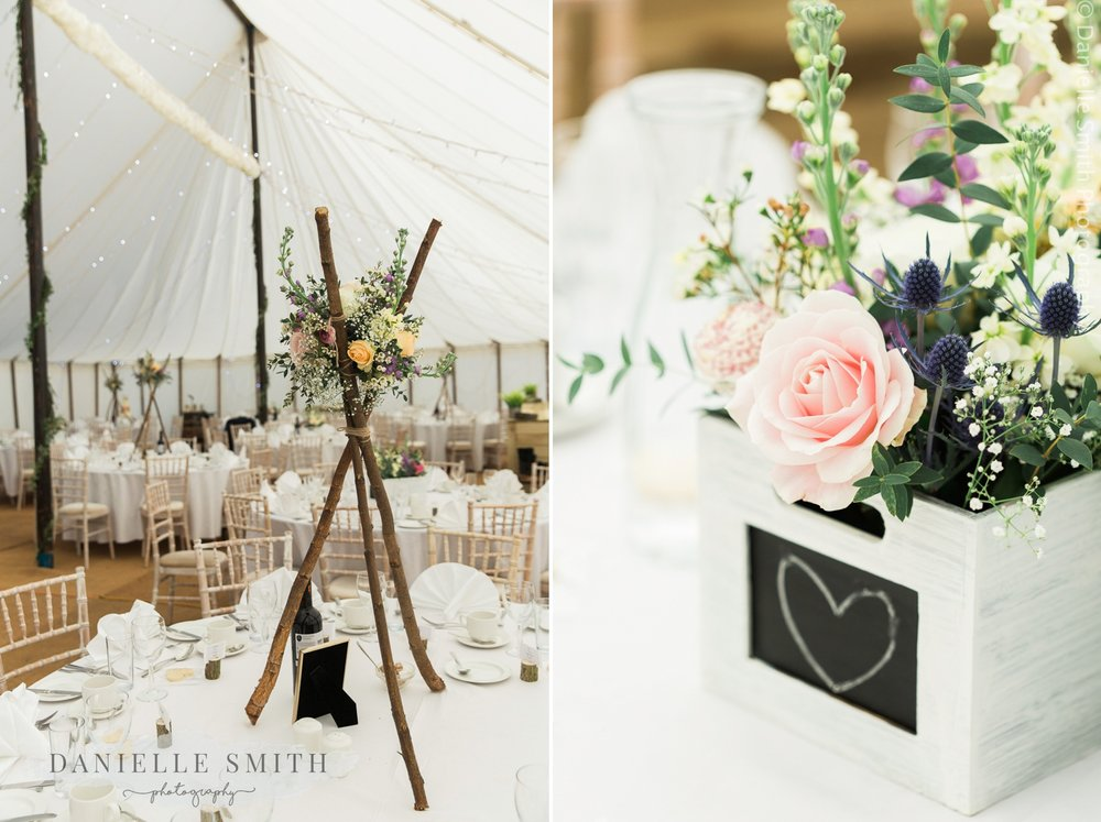 pastel coloured table decor in marquee wedding