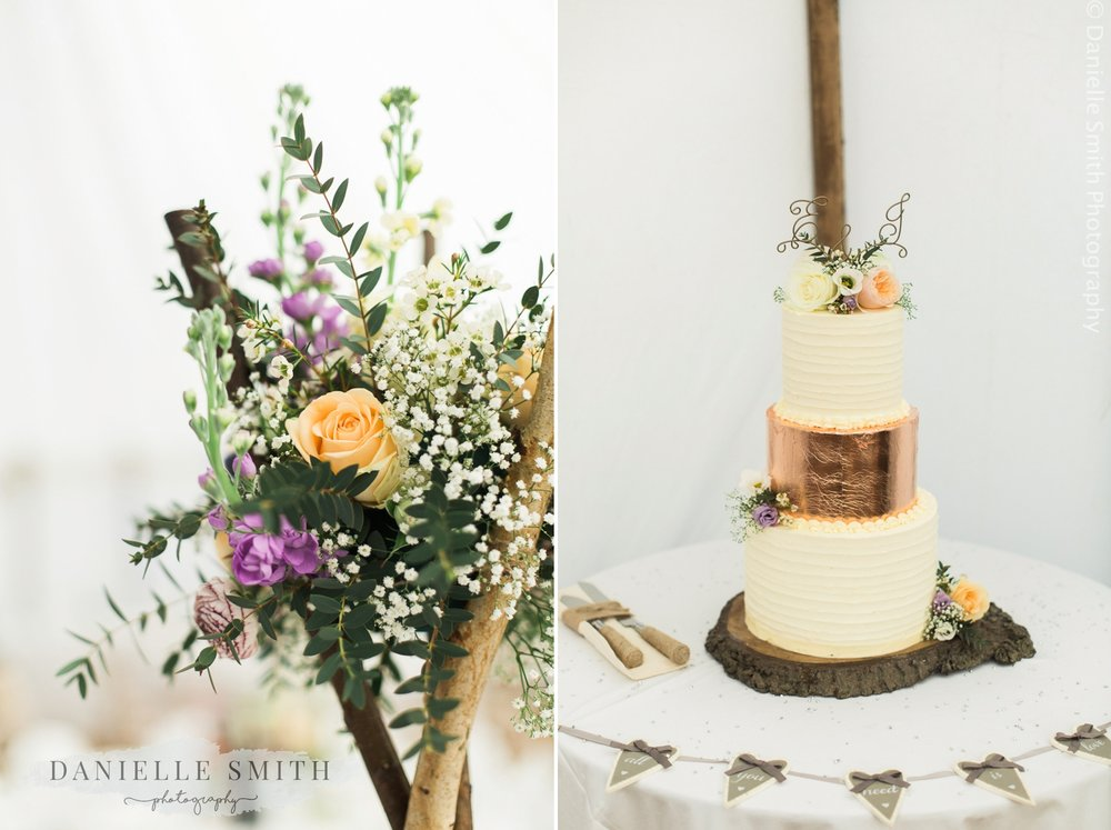 pastel flowers and rose gold wedding cake