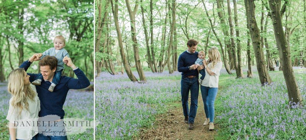 family walking in woods - bluebell family photo shoot