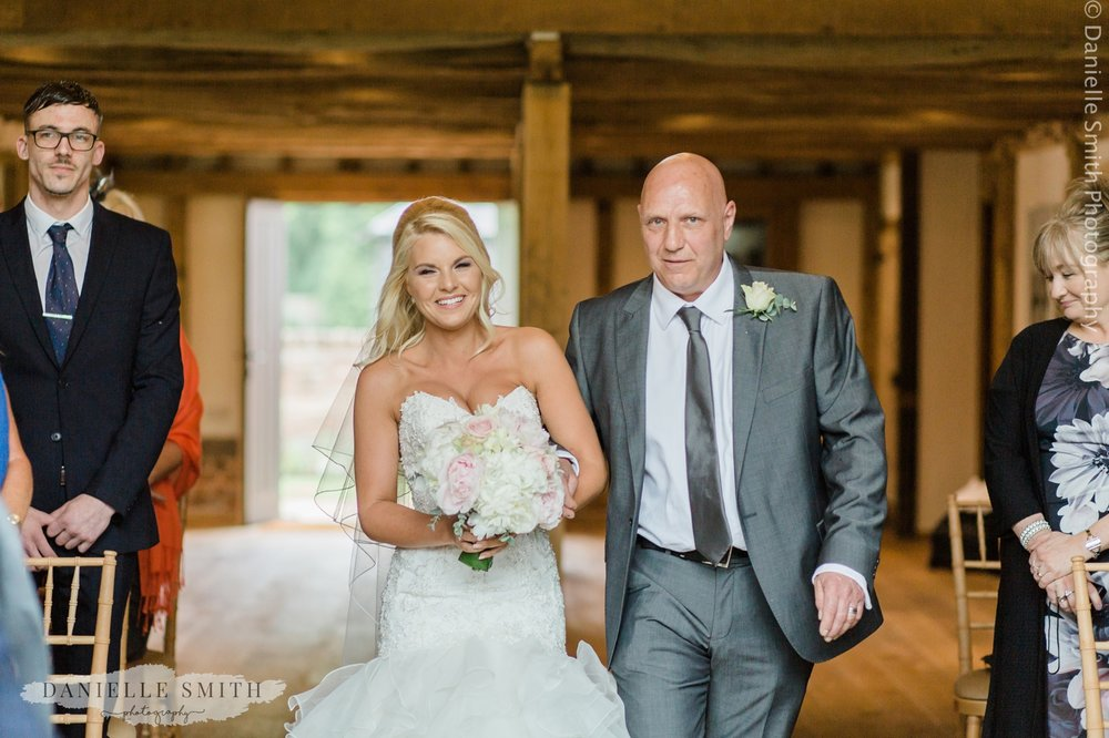 father walking bride down the aisle at blake hall