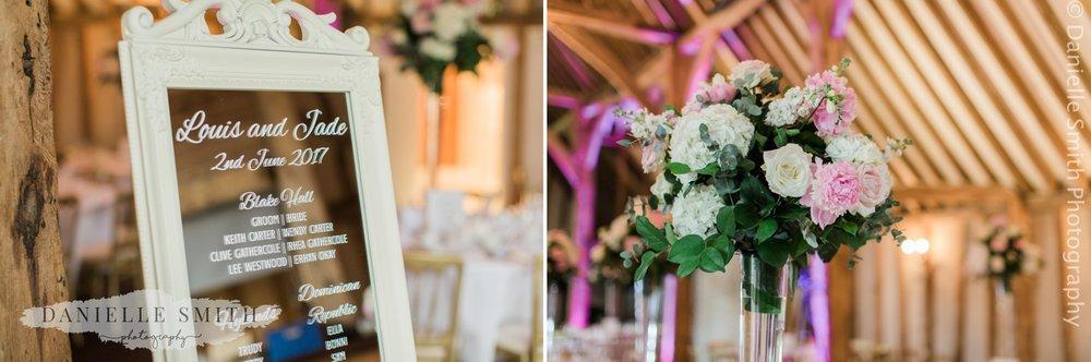 wedding decor in blake hall barn