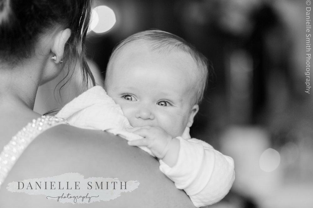 baby girl at wedding - blake hall