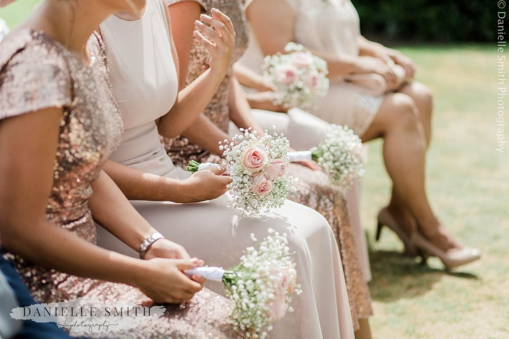 bridesmaids dresses and bouquets