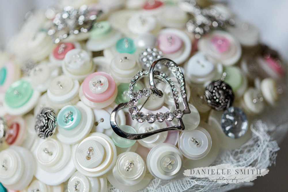 button wedding bouquet with heart