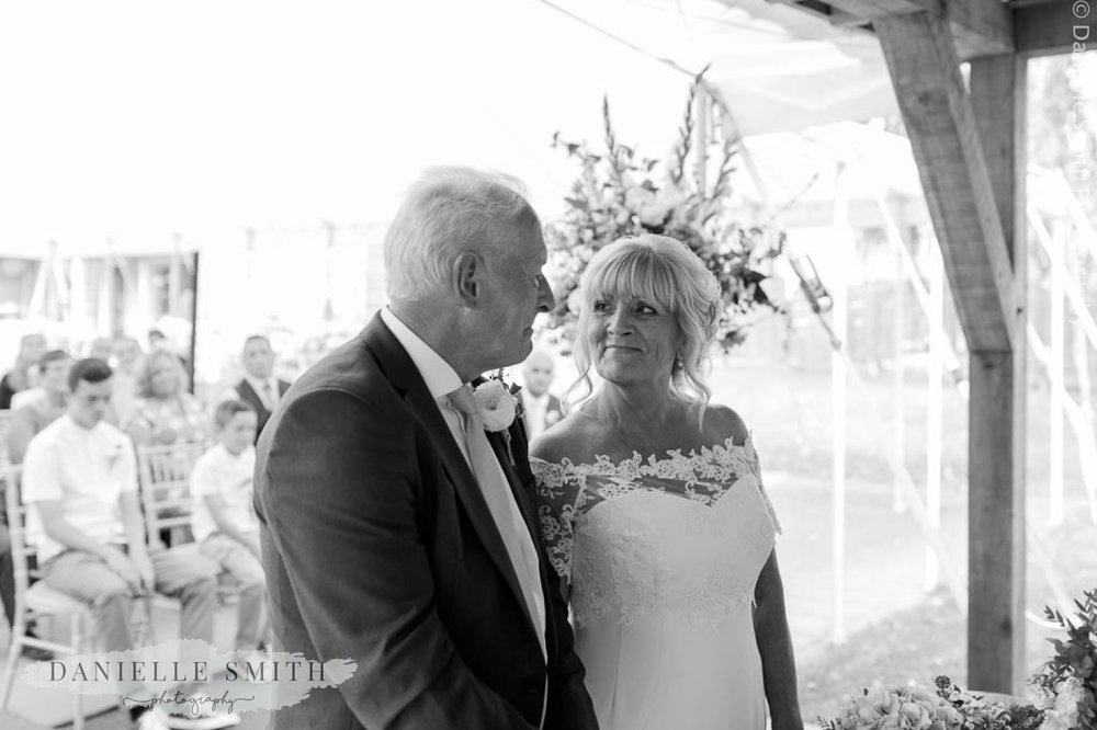 bride and groom first look - houchins outdoor ceremony