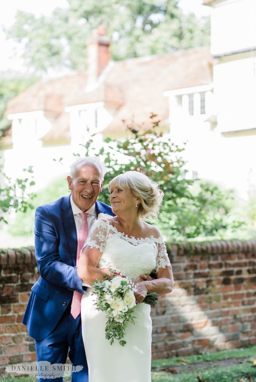 happy bride and groom at outdoor wedding