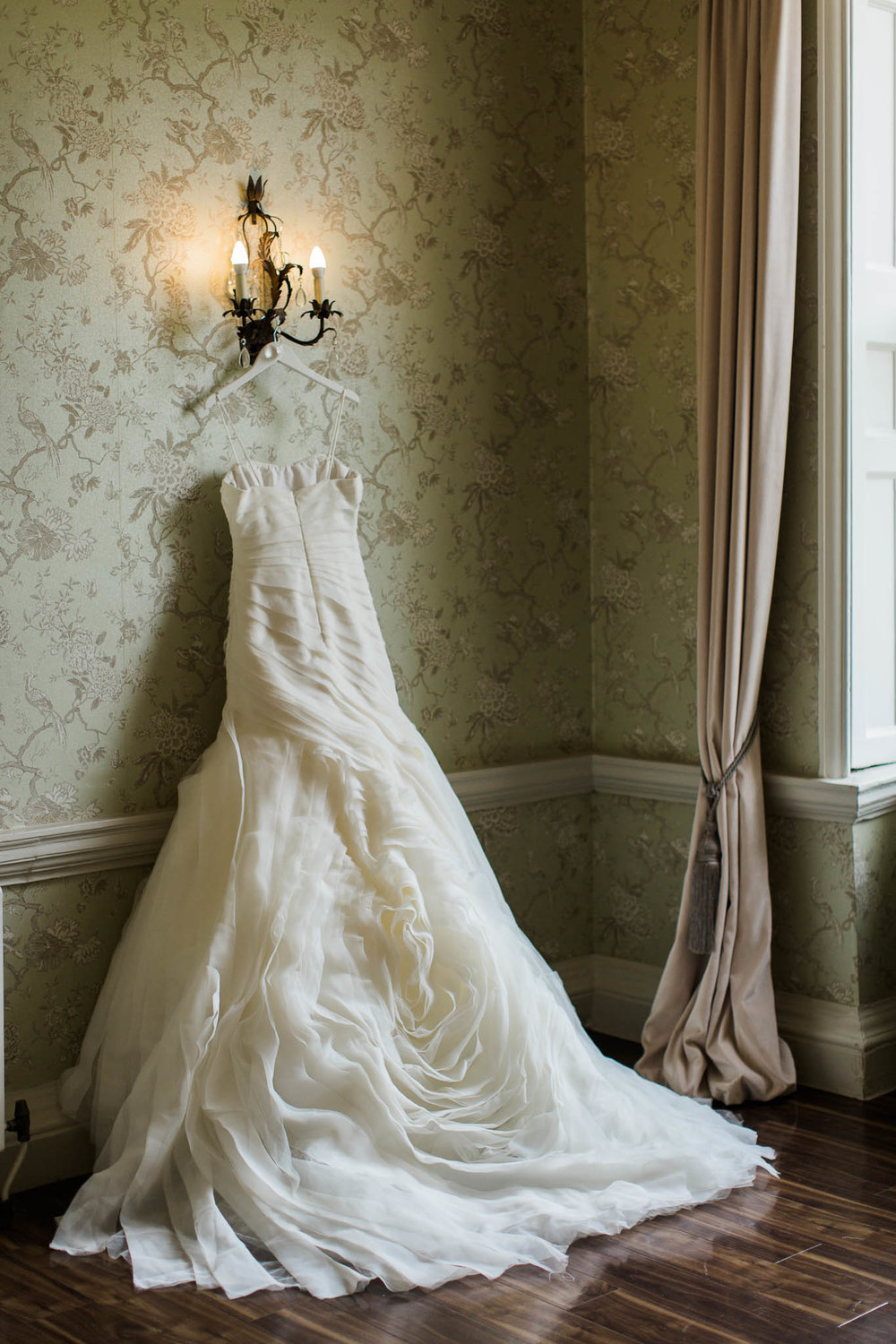 vera wang wedding dress hanging at morden hall