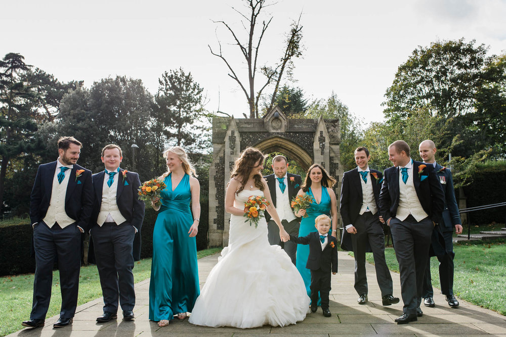 bridal party at autumn wedding in London