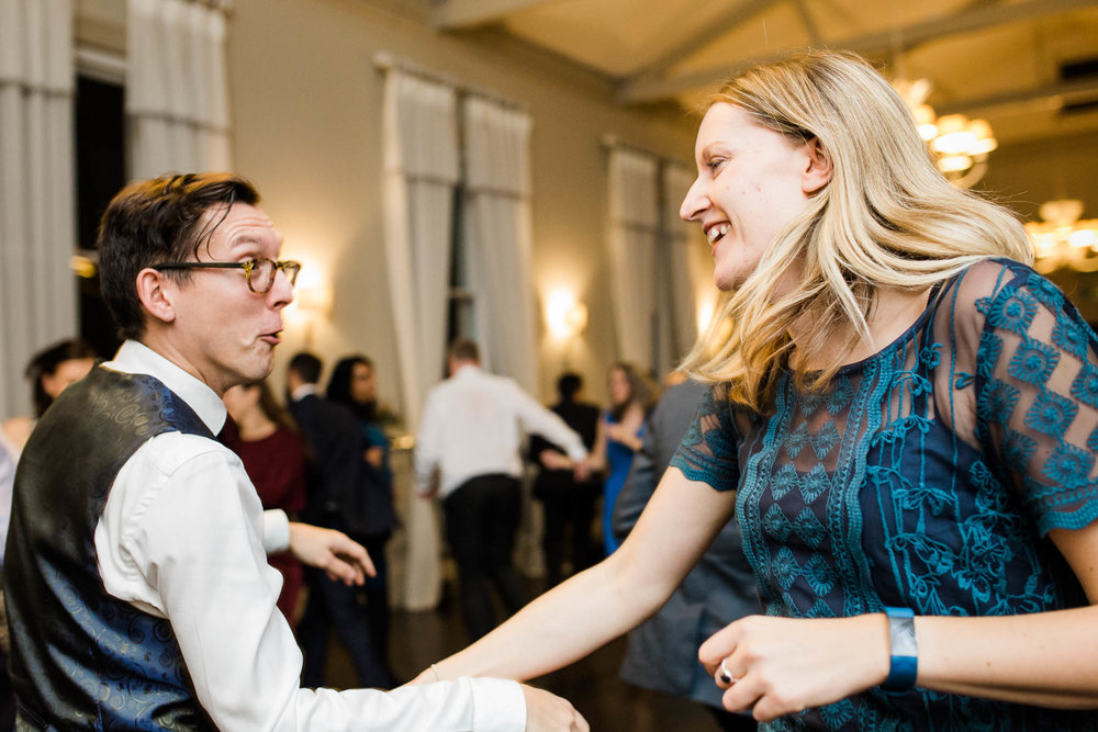 wedding guests dancing to ceilidh band