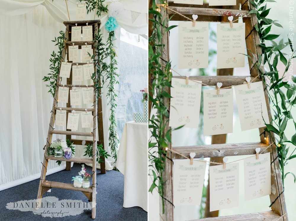 wooden ladder table plan - relaxed marquee wedding