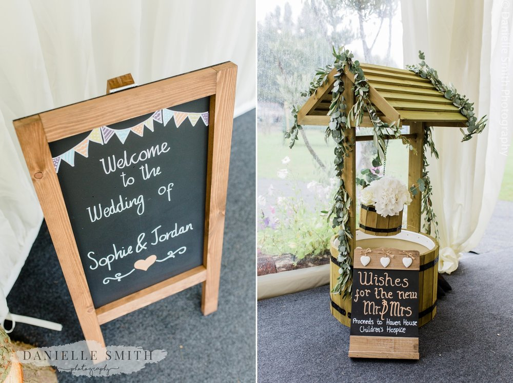 welcome sign and wishing well at wedding