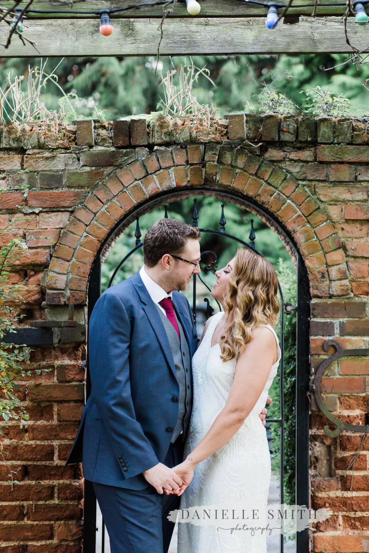 bride and groom portrait at autumn wedding