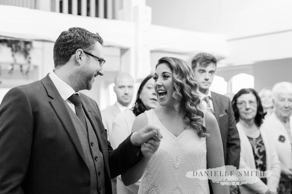 bride and groom cheering when married