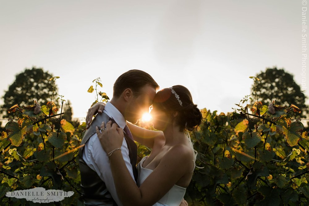 sunset with bride and groom at west street vineyard