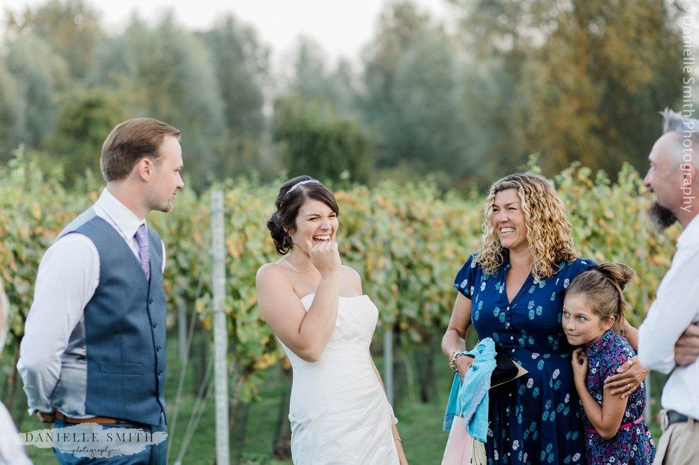 bride laughing - west street vineyard