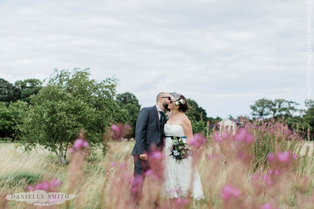 bride and groom portrait in wanstead park