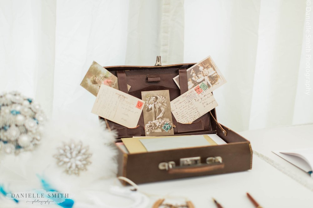 vintage suitcase card box at wedding