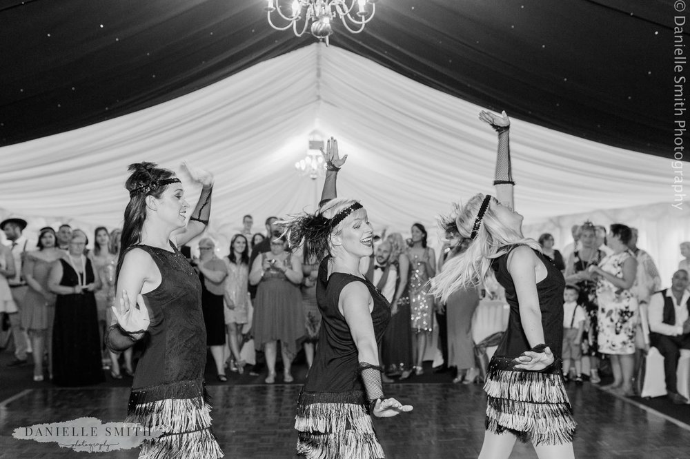 1920s flapper grils dancing at wedding