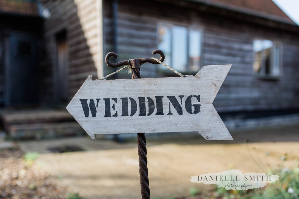 Wedding sign at moreves barn