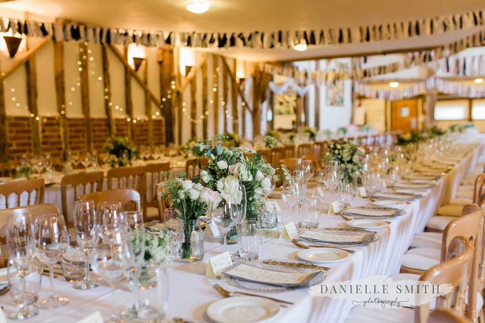 table set up at moreves barn - wedding photography suffolk