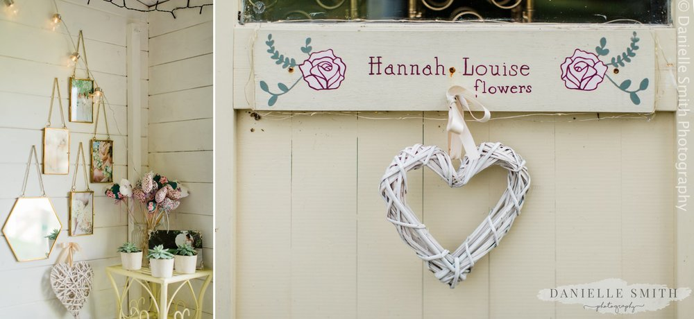 hannah louise flowers florist sign
