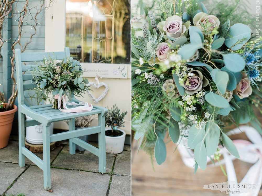 2 photos of wedding bouquet flowers
