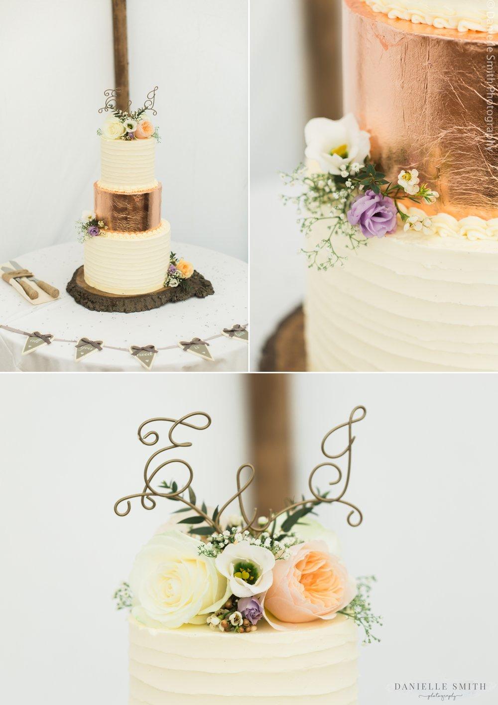 rose gold 3 tier wedding cake