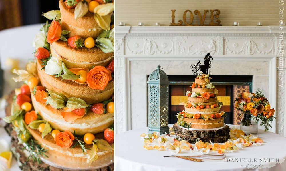 naked cake with autumn flowers