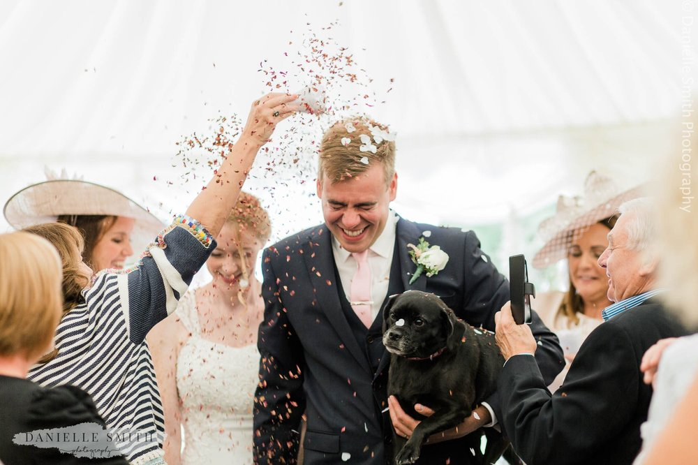 bride and groom with dog during confetti photo