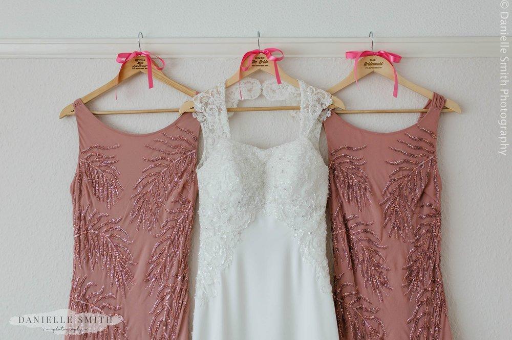 pink embellished bridesmaids dresses and wedding dress