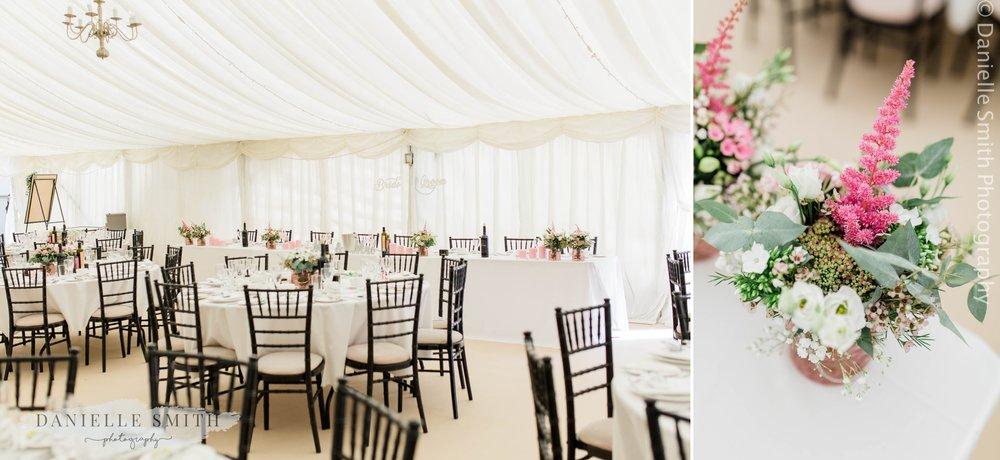 black and pink wedding table decor