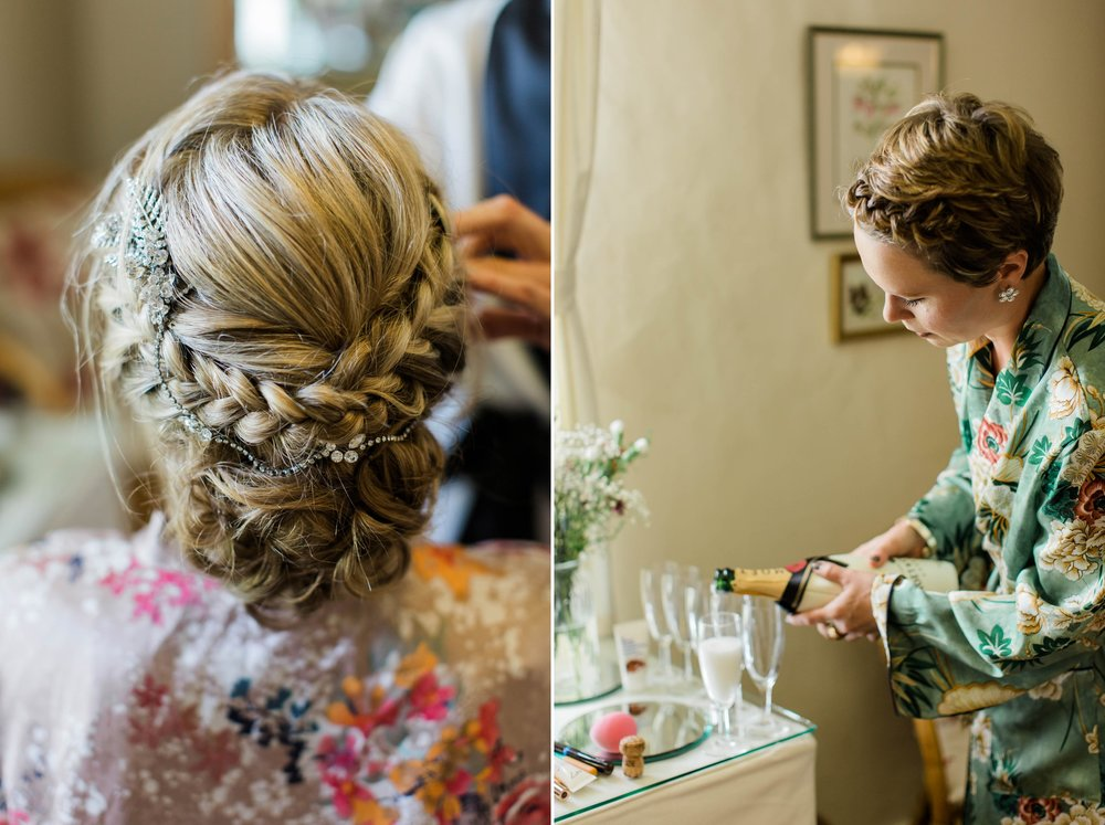 boho wedding hair with plaits and hairpiece