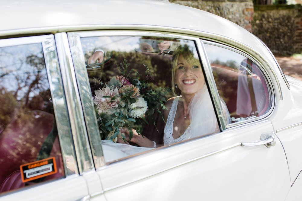 bride through car window