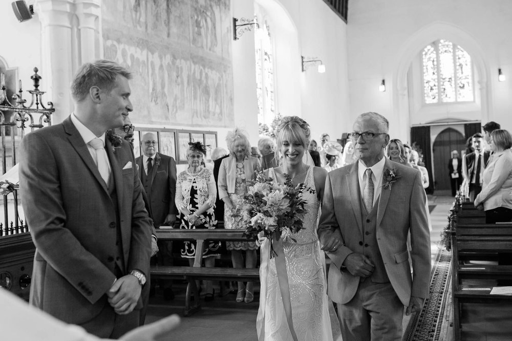 dad giving his daughter away - Essex wedding photographer