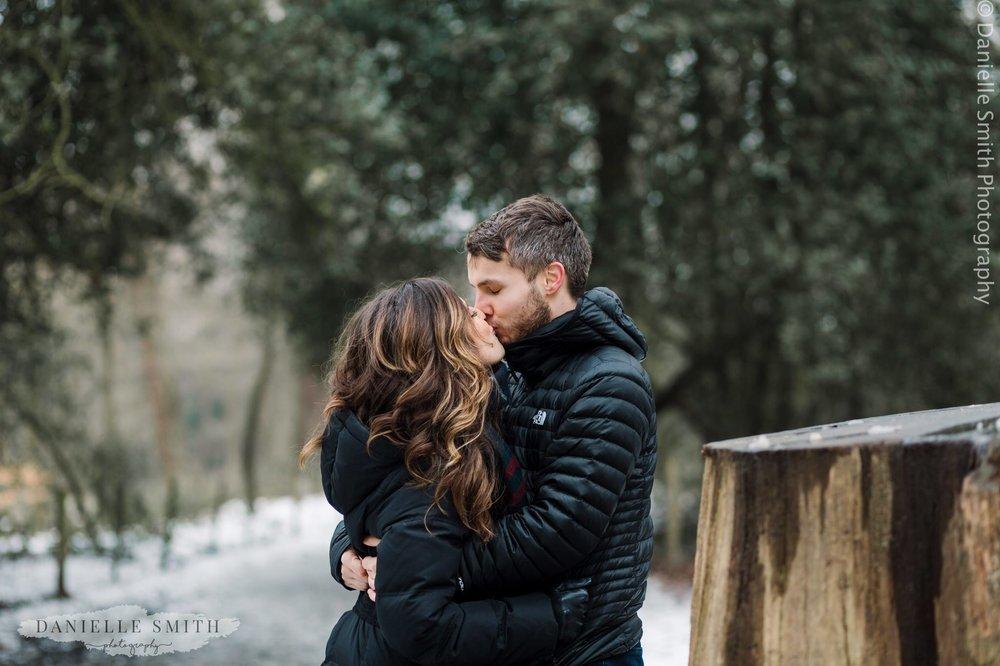 couple kissing - pre-wedding photography hampstead heath