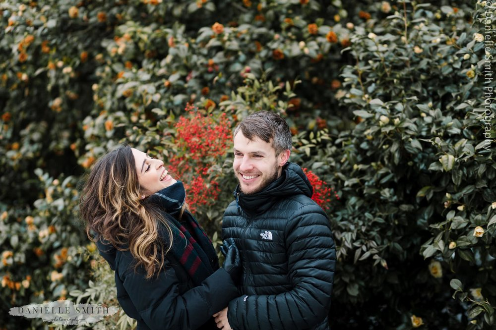 couple laughing - pre-wedding photography hampstead heath