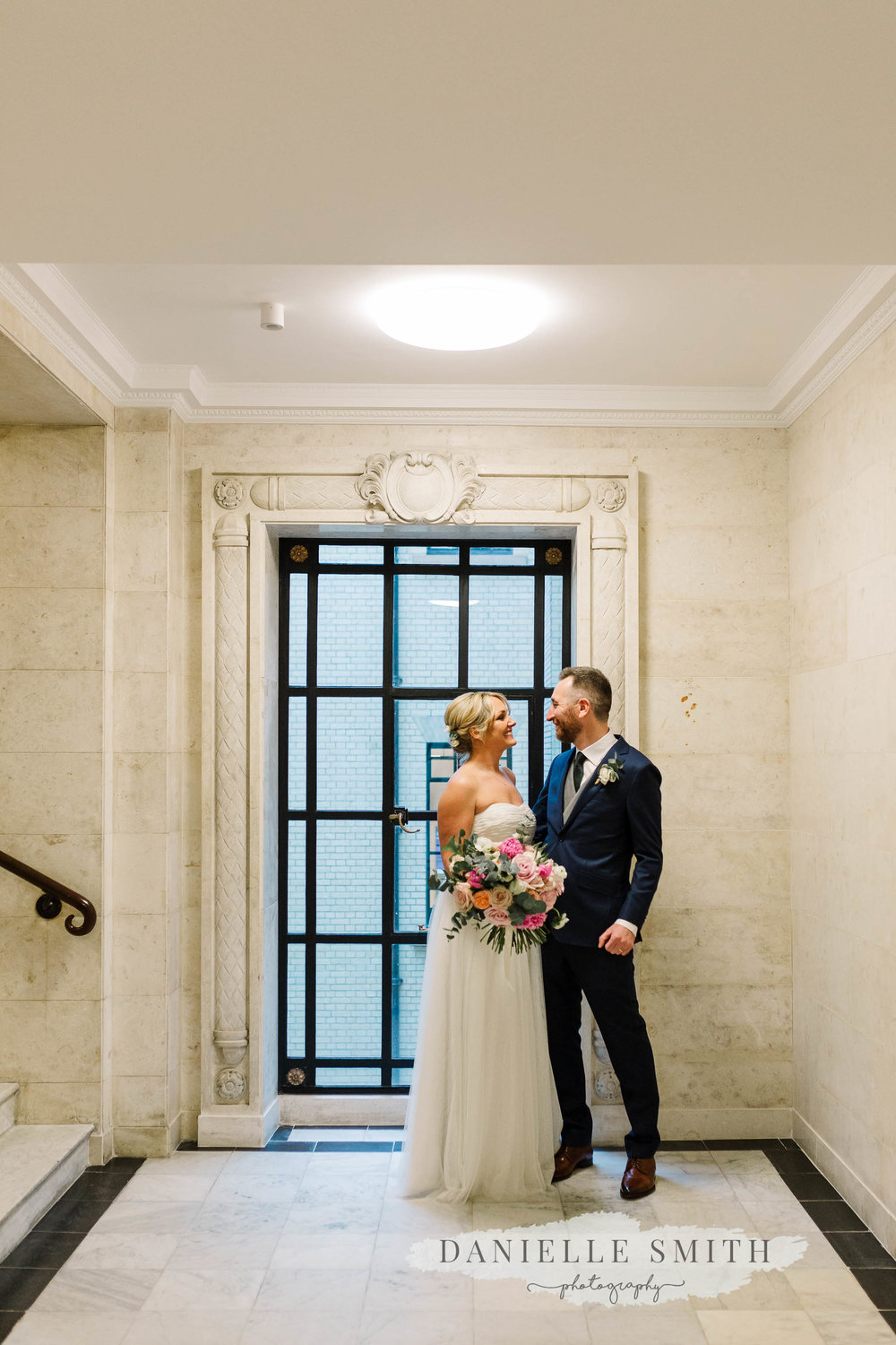 bride and groom at old marylebone town hall