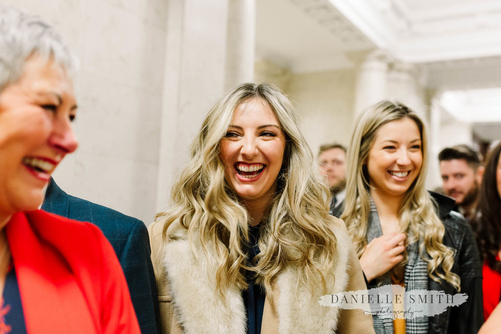 wedding guests laughing- chilled london wedding