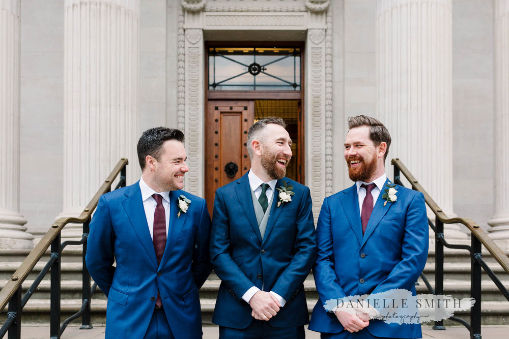 groom and groomsmen at old marylebone town hall wedding