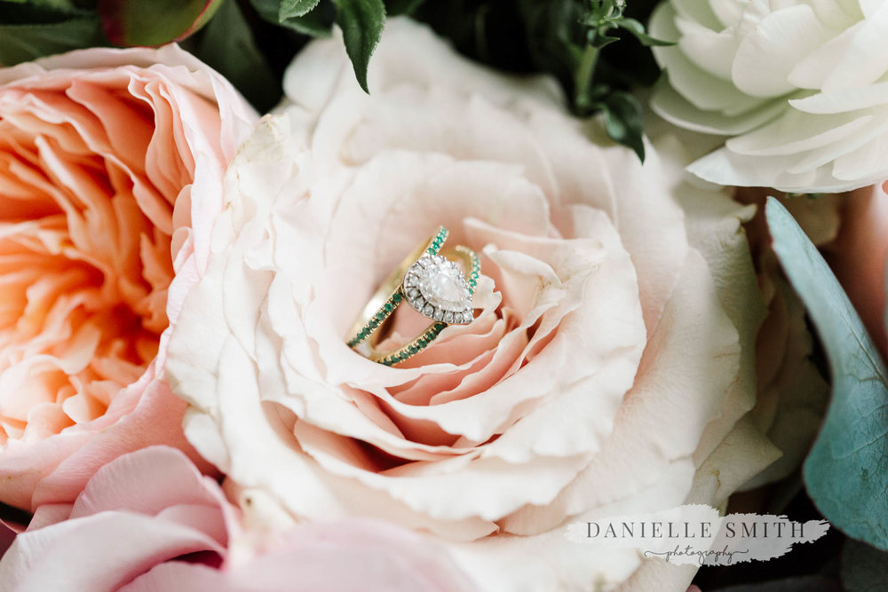 engagement ring in flowers - chilled london wedding