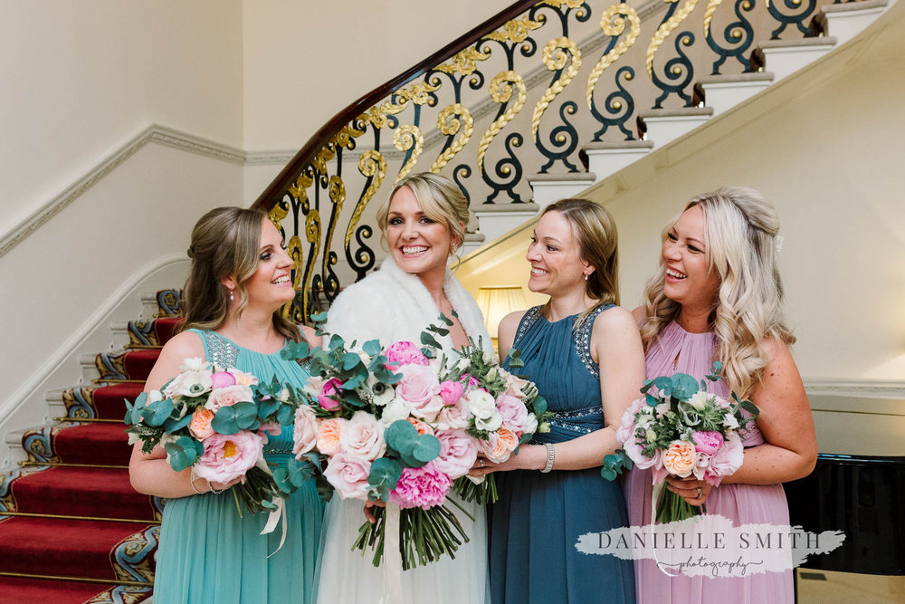 bride and bridesmaids at ritz wedding