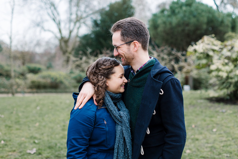couple cuddling - pre-wedding photography battersea park
