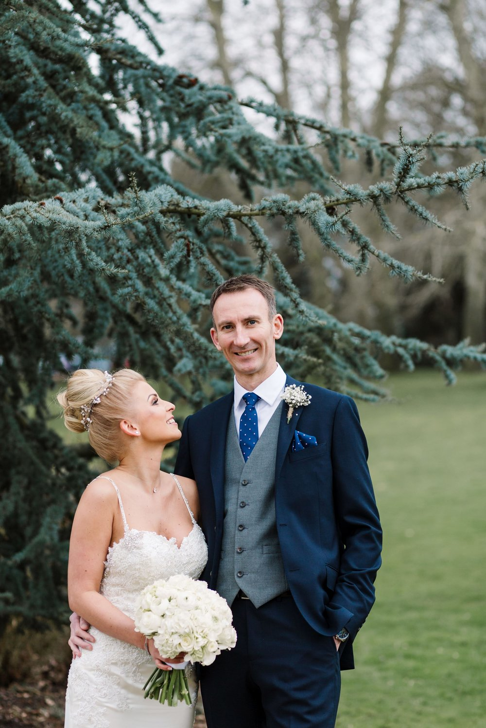 bride and groom at braxted park estate