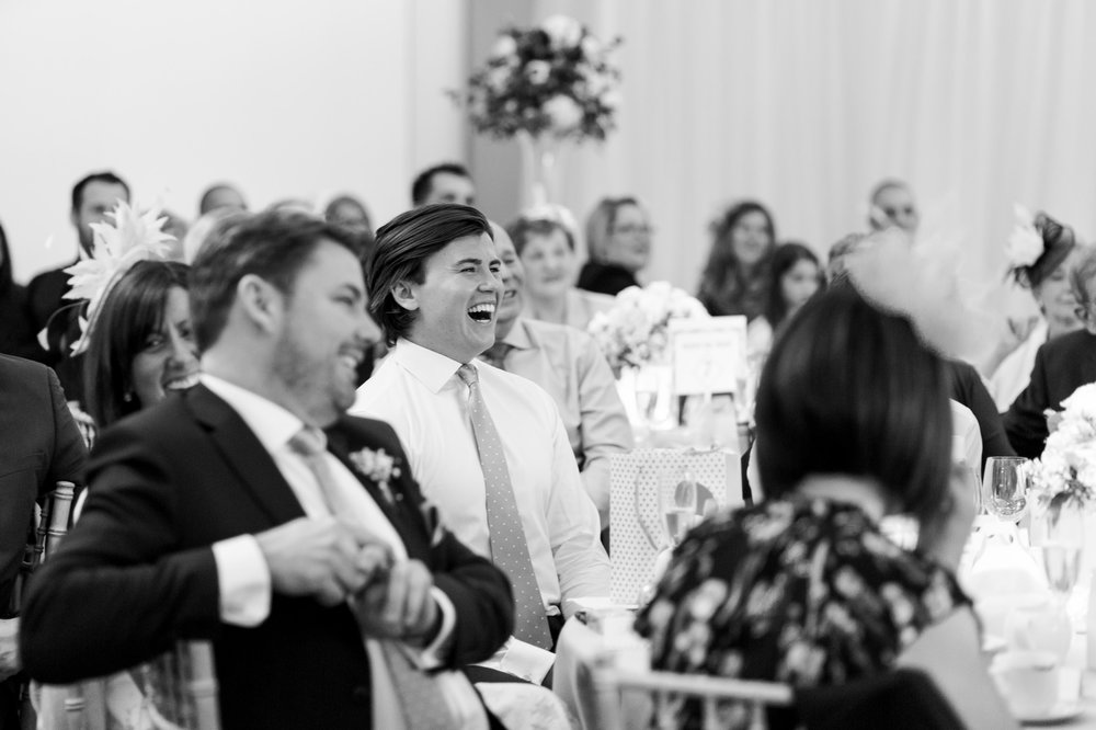 wedding guests laughing at speeches at fun wedding