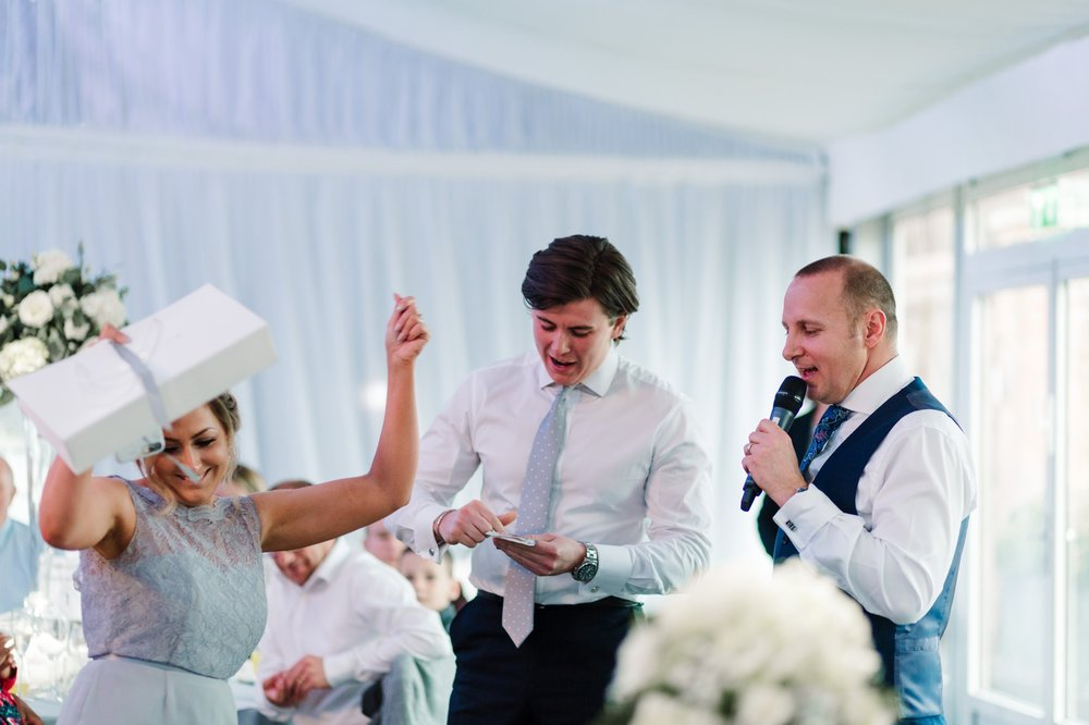bridesmaid cheering during speeches