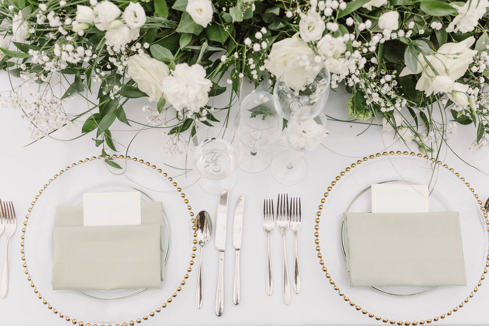 top table white and gold details