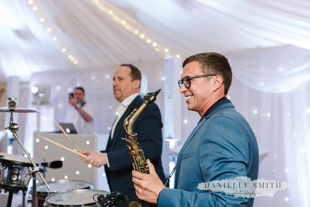 sax and bongos at wedding