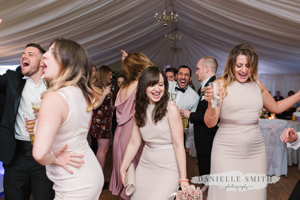 bridesmaids dancing at mulberry house