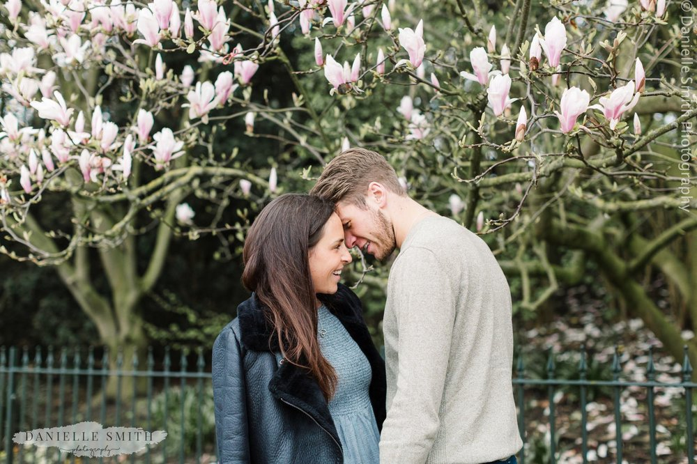 spring pre-wedding photography with blossom tree