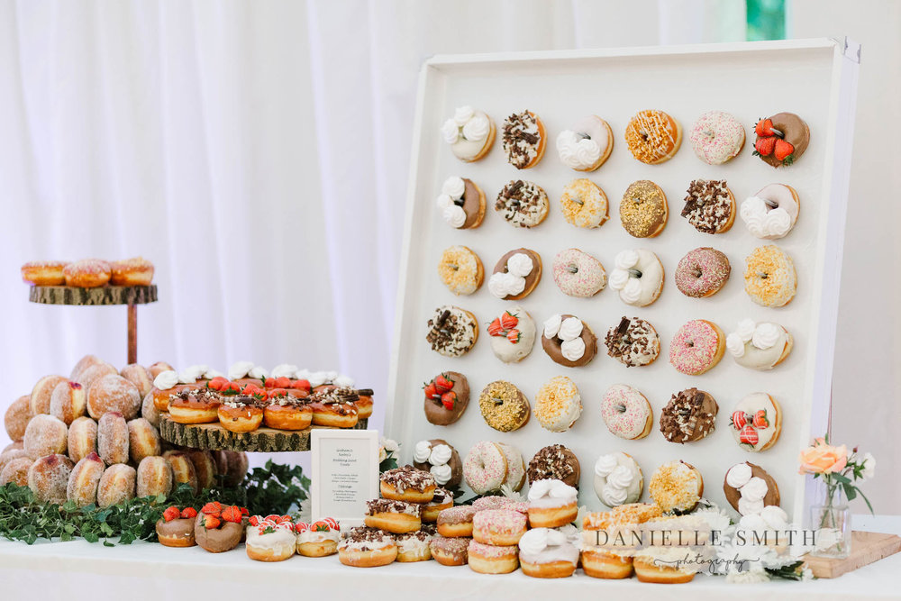 donut wall and dessert table at hylands house